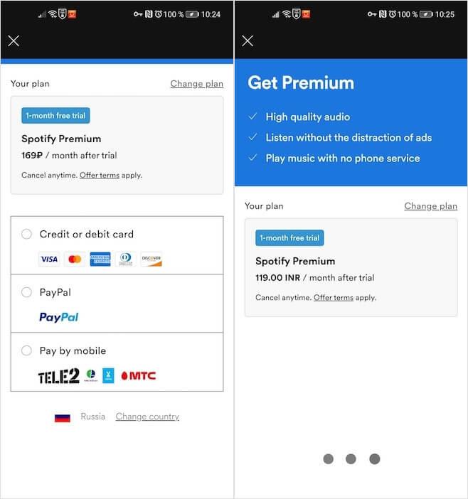 Как на Android подписаться на Spotify Premium дешевле официальной цены