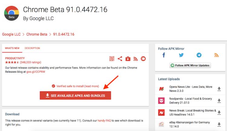APK Chrome Beta