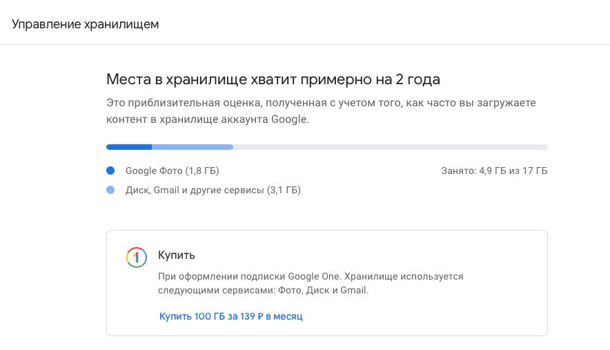 Хранилище Google Фото