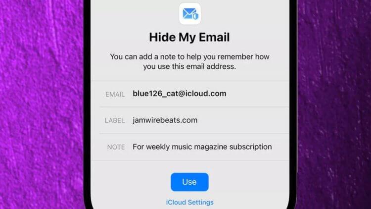 Скрыть адрес email